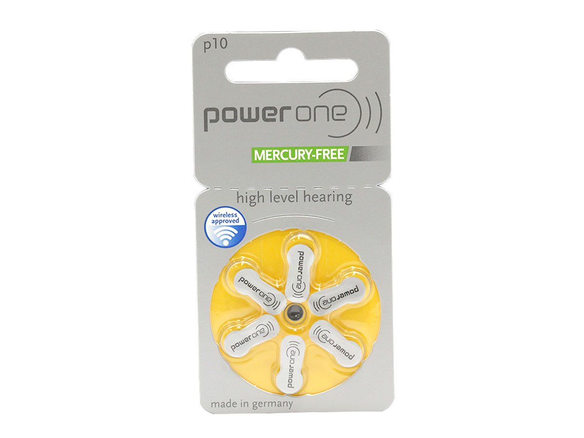 Power One Zinc Air Mercury Free Hearing Aid Batteries, (Yellow), P10, (240 Count)