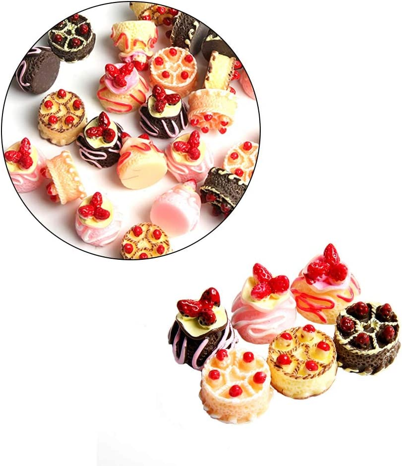 Wixine 6Pcs Dessert 3D Resin Cream Cakes Miniature Food Dollhouse Accessories