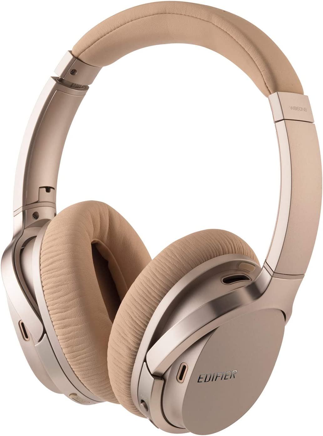 Edifier W860NB Active Noise Cancelling Foldable Over-Ear Bluetooth Headphones with Mic, Smart Touch, 25 Hours of ANC Battery Life, Travel Case, and NFC Pairing – Gold