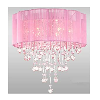 6 Light Pink Chandelier For Girls Rooms With Chrome And Crystal