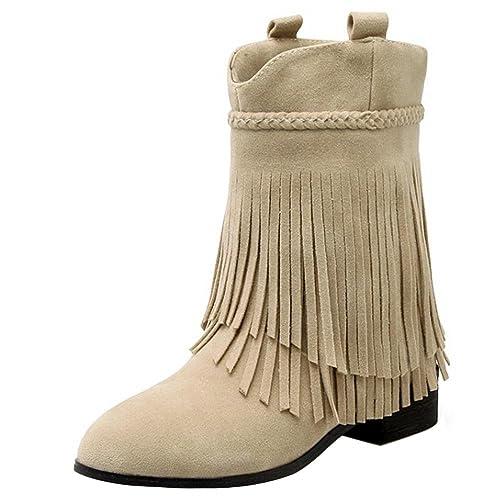 RAZAMAZA Zapatos de Mujer Medio Botas con Flecos Botines: Amazon.es: Zapatos y complementos