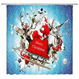 big eiffel tower - Christmas Shower Curtain Santa Claus With Snowmobile Snowman Elks Big Ben Statue Of Liberty Eiffel Tower New Year Festive Celebration,70x70 In Waterproof Polyester Fabric Bathroom Accessories Curtains