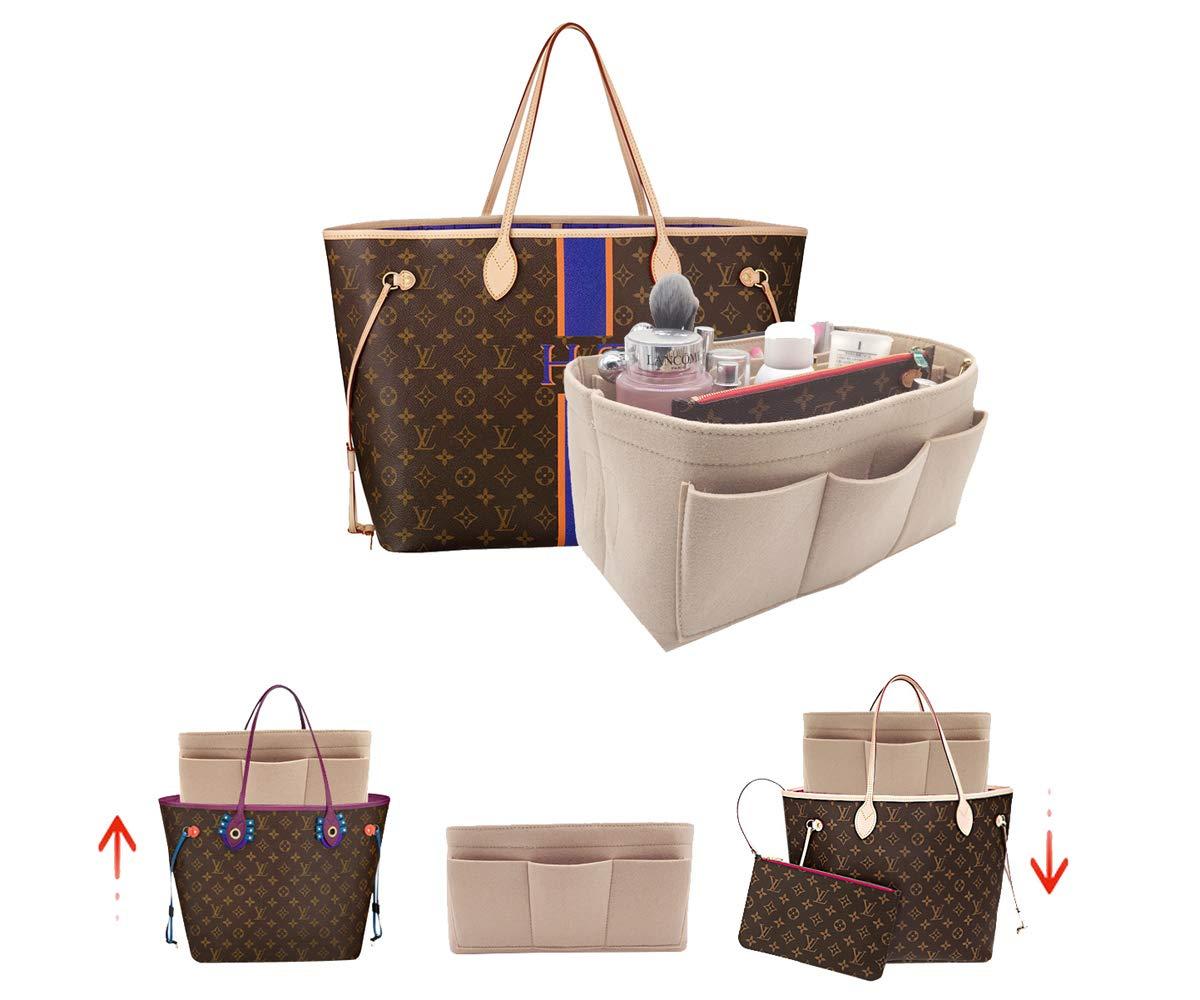 LEXSION Felt Handbag Organizer,Insert purse organizer Structure Shaper fits Speedy 8001 Beige L by LEXSION