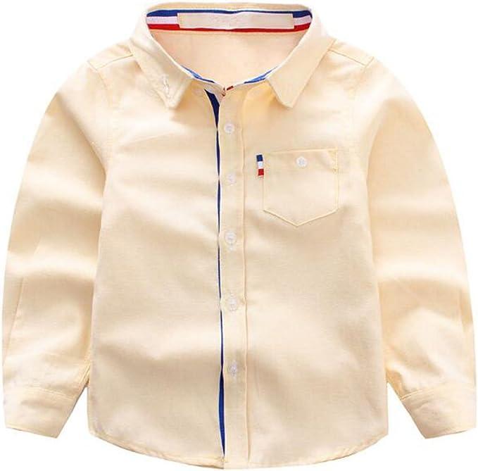 ZGJQ Niños De Los Niños De Los Muchachos De La Camisa De Algodón De Color Sólido del Bebé Blanca De Manga Larga Camisa De La Marea De Los Niños, Yellow-80cm: Amazon.es: Ropa