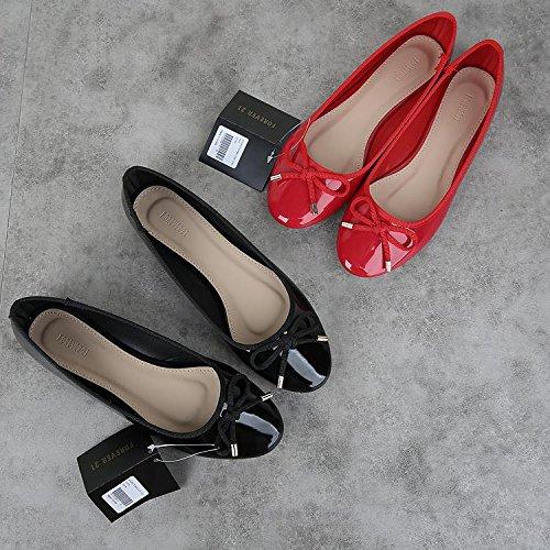 &huo Boca redonda redonda, zapatos de ballet del arco, zapatos planos de los zapatos 41