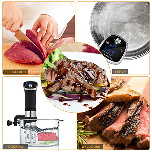 MaxKare Sous Vide Precision Cooker with Immersion Circulator, Double Digital Display Screens, Stainless Steel, Precise Temperature/Time Control for Quality Food at Home. Easy to Clean. by MaxKare (Image #1)