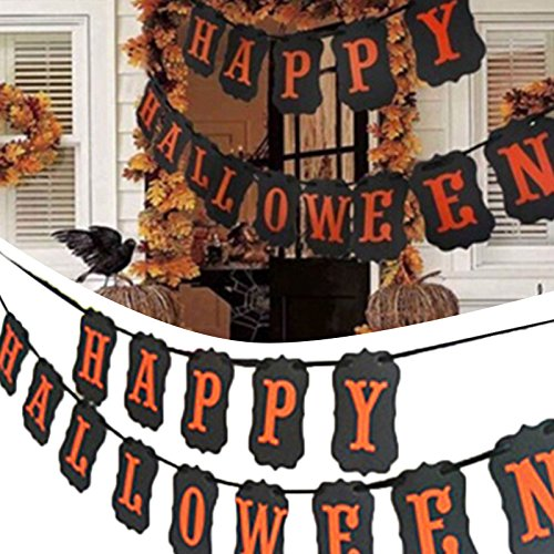 PiggiesC Happy Halloween Banner Bunting Hanging Garland Dekoration Fahne Party Home Decor (Halloween Paper Plate Spider Crafts)