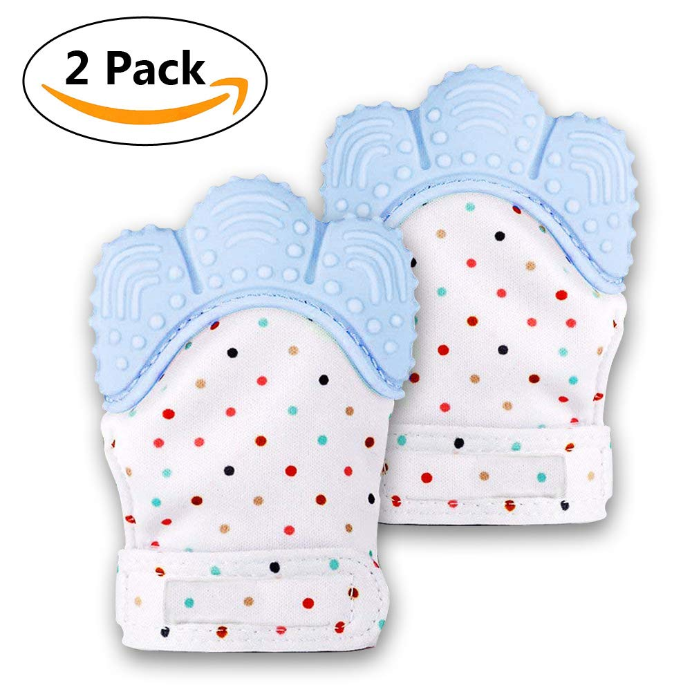 Infants 1pcs, Pink Huifen Baby Soothing Teething Mitten,Self-Soothing Pain Relief Mitt Stimulating Teether Toy, Original Silicone Teether Mitten Glove for Babies Toddlers Boy and Girl