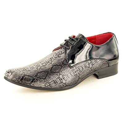70a74625523b9 Mens Leather Lined Snake Skin Pattern Pointed Winkle Pickers Patent Shiny  Shoes