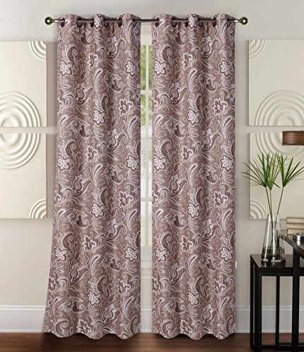 GorgeousHomeLinen (FLORAL) 1 Panel Print Design Insulated Thermal Blackout Window Curtain with Bronze Grommets, 35