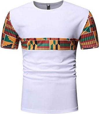 Camiseta de Manga Corta para Hombre con Estampado Africano Dashiki Aloha: Amazon.es: Ropa y accesorios