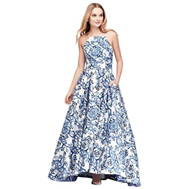 David\'s Bridal Printed Satin Halter Prom Dress with Lace-up Back ...
