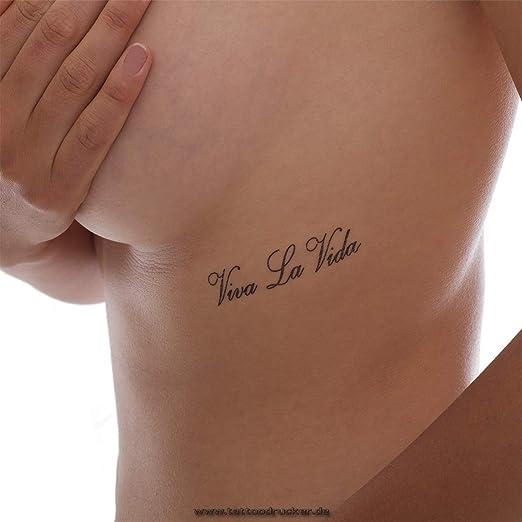4x Viva la Vida tatuaje con letras en negro (4): Amazon.es: Hogar
