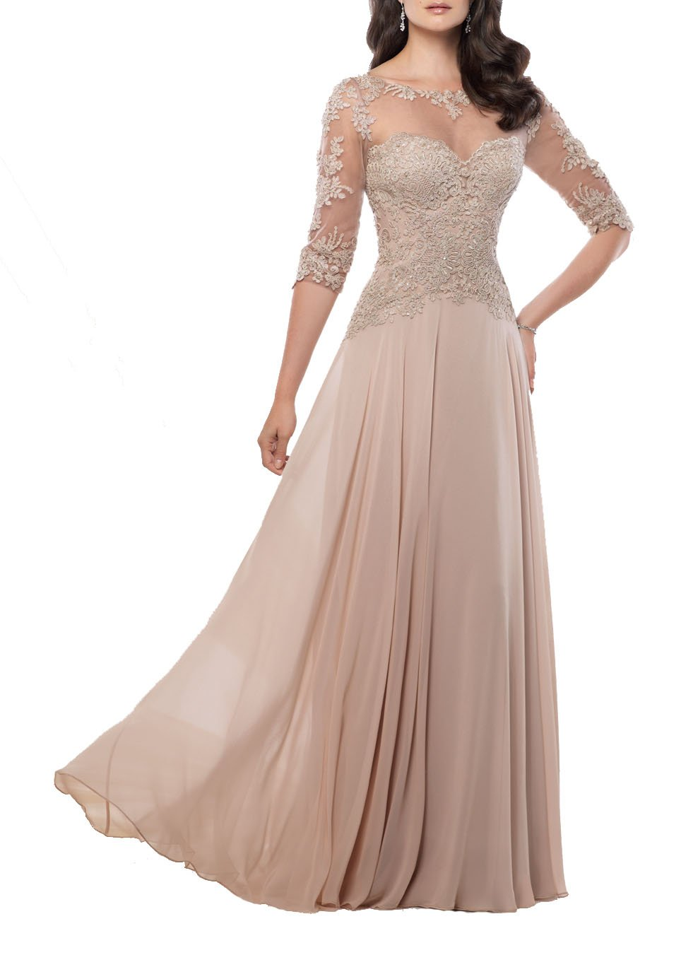 Sexy Women Long Evening Prom Dress Beige Plus Size 18 by Butterfly Paradise Dress