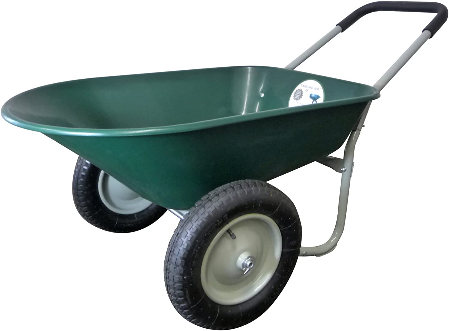 Marathon Dual-Wheel Residential Yard Rover Wheelbarrow and Yard Cart – Green