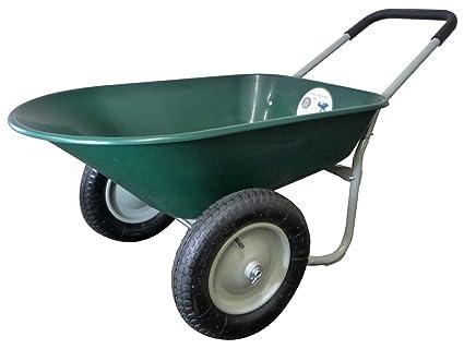 Marathon Dual-Wheel Residential Yard Rover Wheelbarrow and Yard Cart - Green