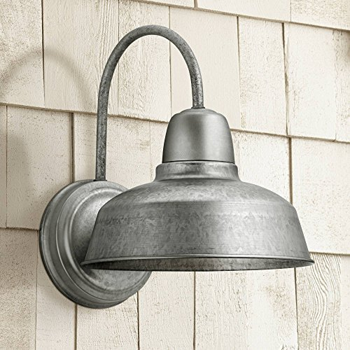 "Urban Barn Rustic Farmhouse Outdoor Wall Light Fixture Galvanized Steel Gooseneck Arm 13"" for Exterior House Porch Patio - John Timberland"