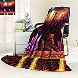 YOYI-HOME All Season Super Soft Cozy Duplex Printed Blanket Spot with Golden River in Mars with Nebula and Other Planets Solar Zodiac Theme Multi from for Gift Blanket s/W59 x H39.5