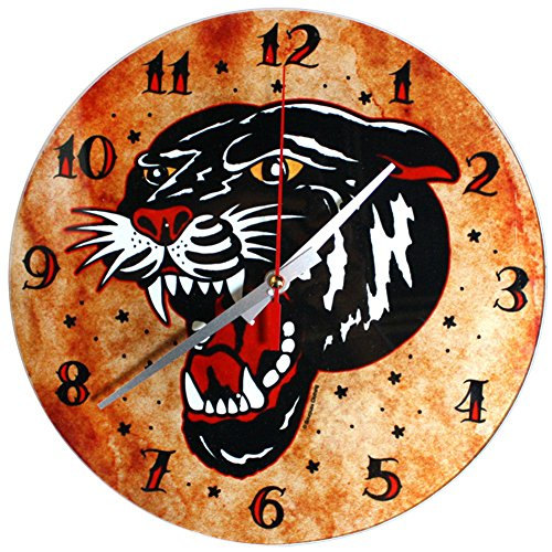 Black Tattoo Flash Panther Wall Clock from Sourpuss Clothing