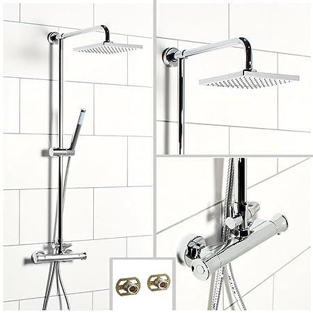 Modern Twin Head Thermostatic Shower Mixer Chrome Bathroom Exposed Valve Set UK