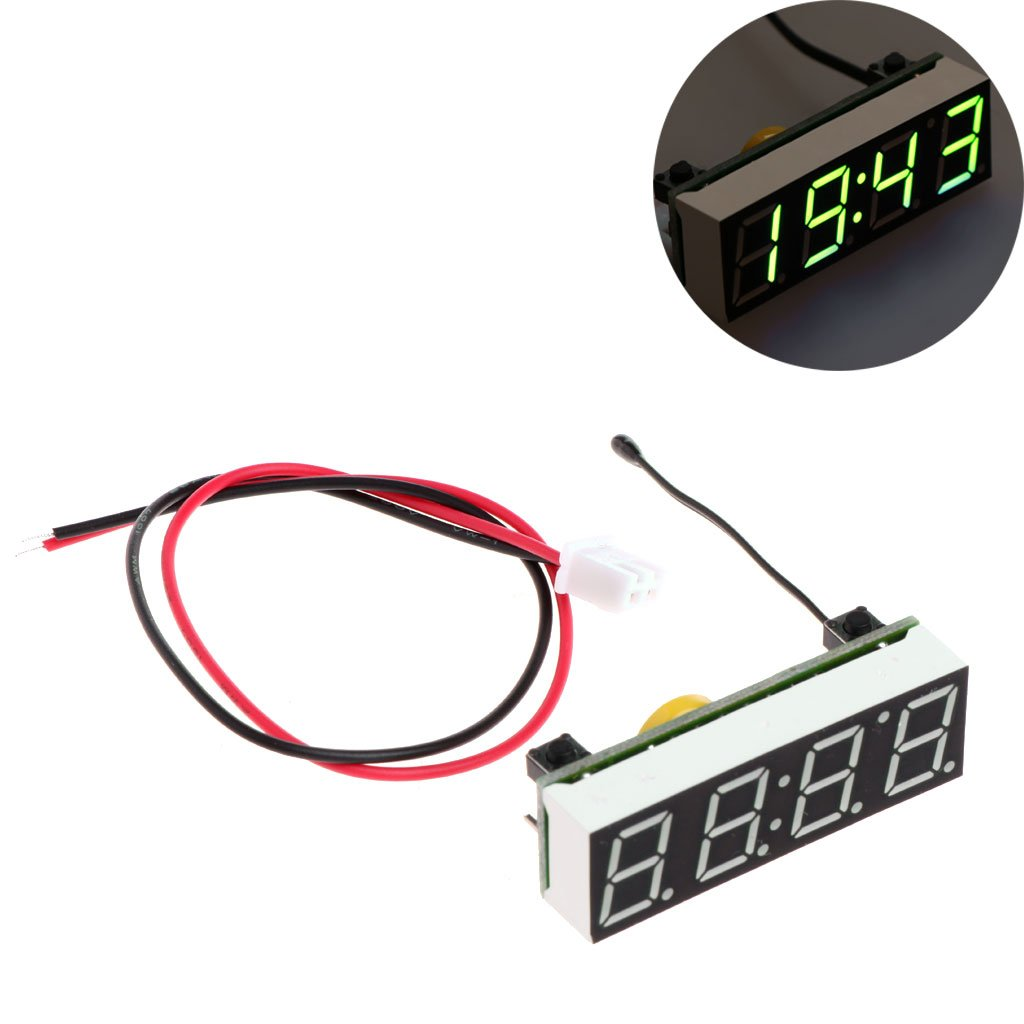 Youngy Car 3 in 1 LED DIY Digital Clock Temperature Voltage Module Electronic DC 5~30V - Green by Youngy