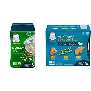 Gerber Baby Cereal Organic Rice Cereal, 8 Ounces (Pack of 6) & Purees My 1st Vegetables, Box of 6 2 Ounce Tubs (Pack of 2)