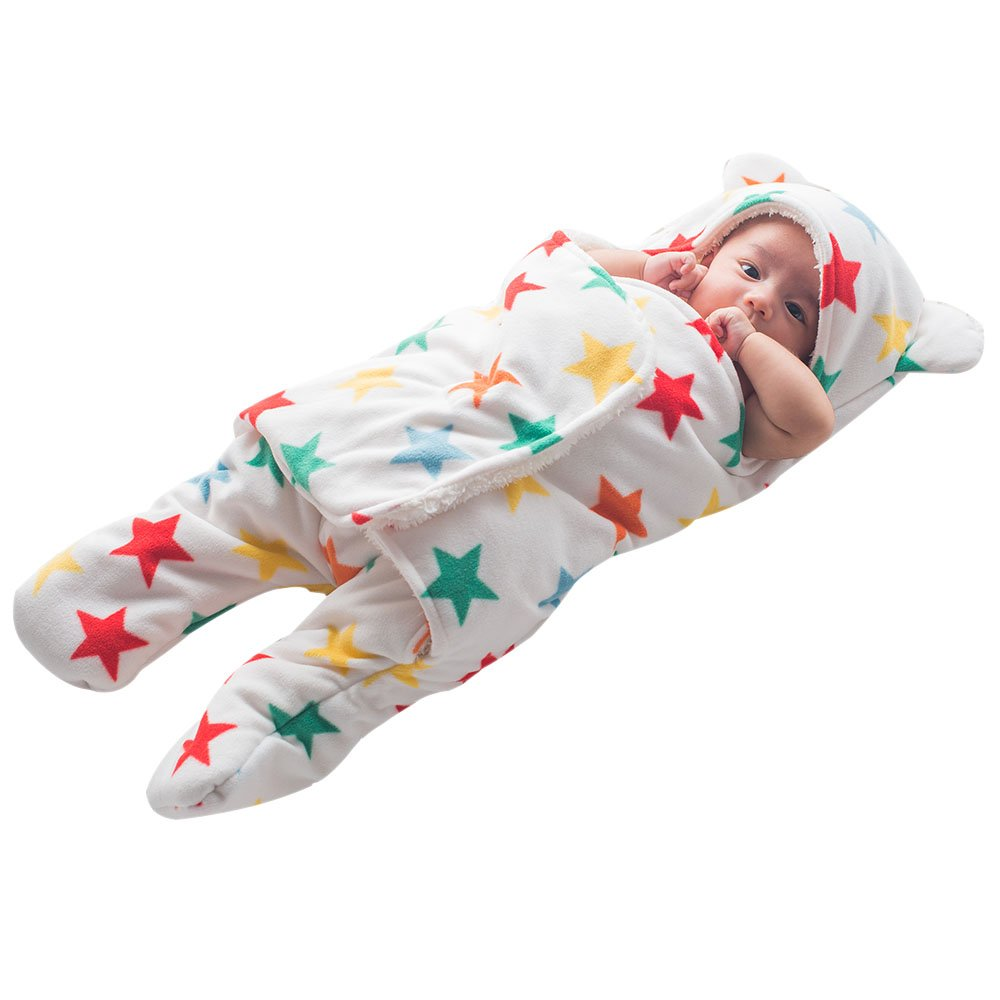 Baby Swaddle Blankets Sleep Sack - GreForest Thick Fleece Swaddling Blankets Seperated Legs Soft Warm For Bath, Air-conditioned, Autumn, Winter with Velcro, Cute Bear Ear Hood (Color Star, 3-6 Months)