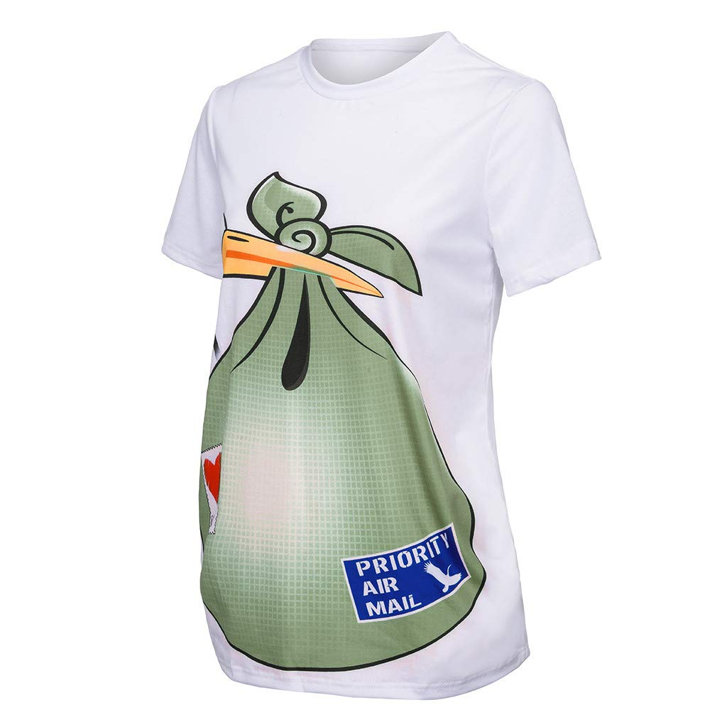 HCFKJ Womens Shirts Maternity Stretch Loose Casual Maternity Cute Funny Pattern Print Short Sleeve Casual T-Shirt Pregnant Tops
