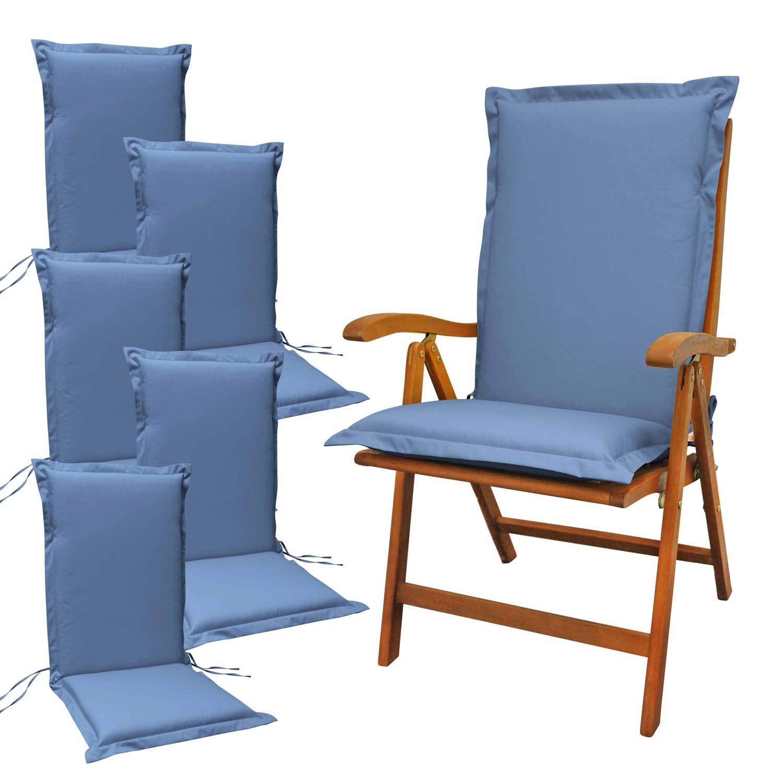 Indoba 6 x Sitzauflage Hochlehner Premium Polsterauflage Blau