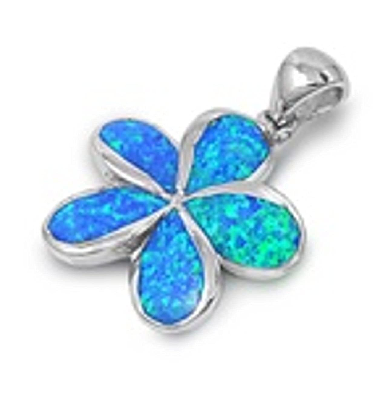 Sterling Silver Girls .8mm Box Chain Blue//Green Simulated Opal Plumeria Pendant Necklace