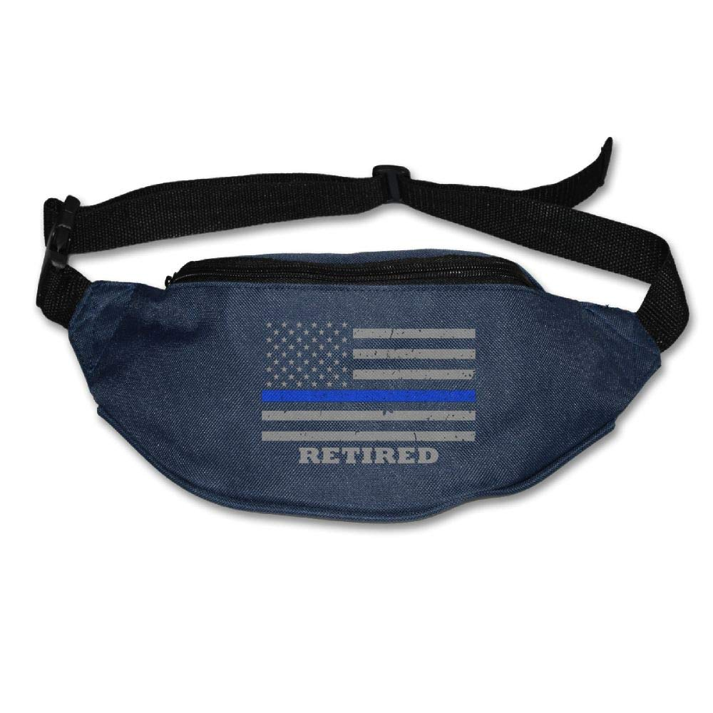 Ada Kitto Thin Blue Line American Flag Mens&Womens Sport Style Travel Waist Bag For Running And Cycling Navy One Size
