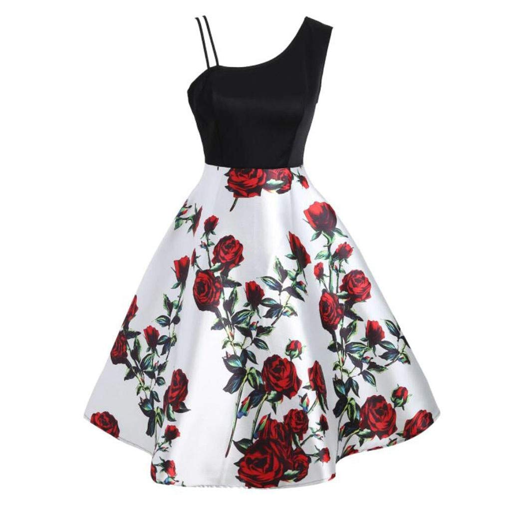 Botrong Plus Size Dresses for Women Summer One Shoulder Vintage Floral Print Retro Rockabilly Cocktail Pleated Tank Dress