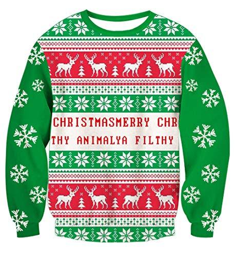 RAISEVERN Unisex Ugly Christmas Elk Sweatshirt Christmas Snowflake