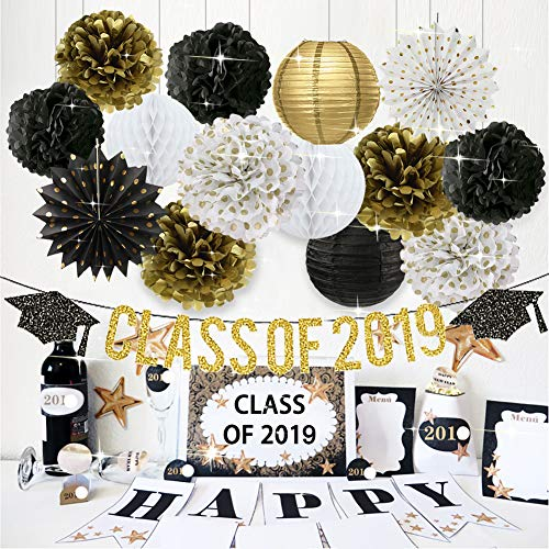 2019 Graduation Party Decorations Class of 2019 Graduation Banner Tissue Paper Flowers Pom Poms Paper Lanterns Hanging Paper Fans for College Grad Party and High School Graduation Party Supplies -