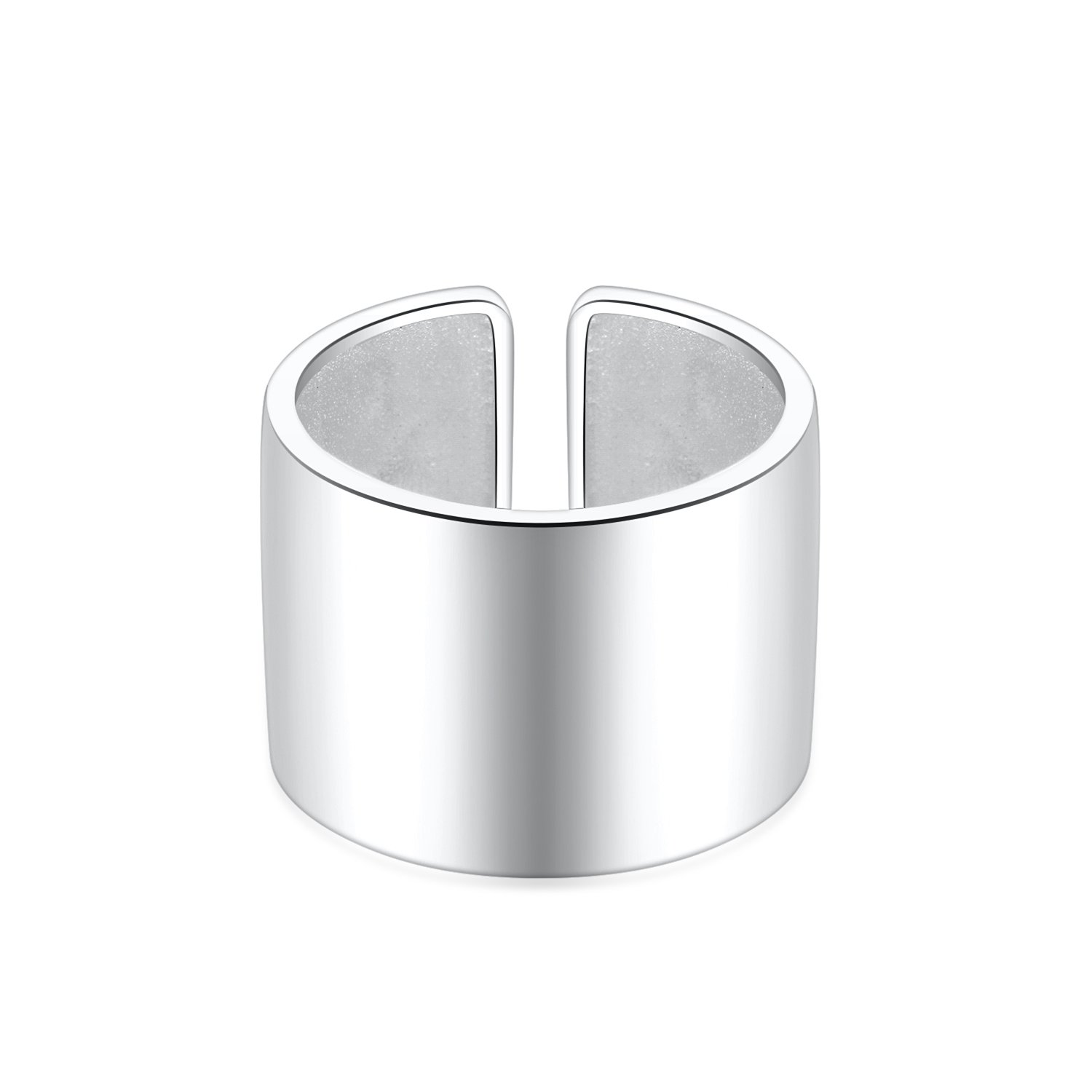 14mm Wide 926 Sterling Silver Plain Big Adjustable Open Finger Ring Cuff Thumb Ring Band by Silbertale (Image #2)