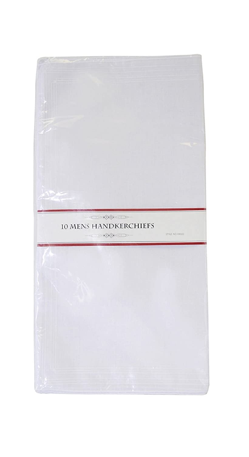 Mens Poly/Cotton White Handkerchiefs Pack of 10 with Imprinted Border Detail. (Hankies)