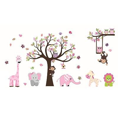 ufengke Animal Tree Wall Stickers Pink Elephant Giraffe Wall Decals Art Decor for Kids Bedroom Nursery DIY: Home Improvement
