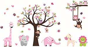 ufengke Animal Tree Wall Stickers Pink Elephant Giraffe Wall Decals Art Decor for Kids Bedroom Nursery DIY
