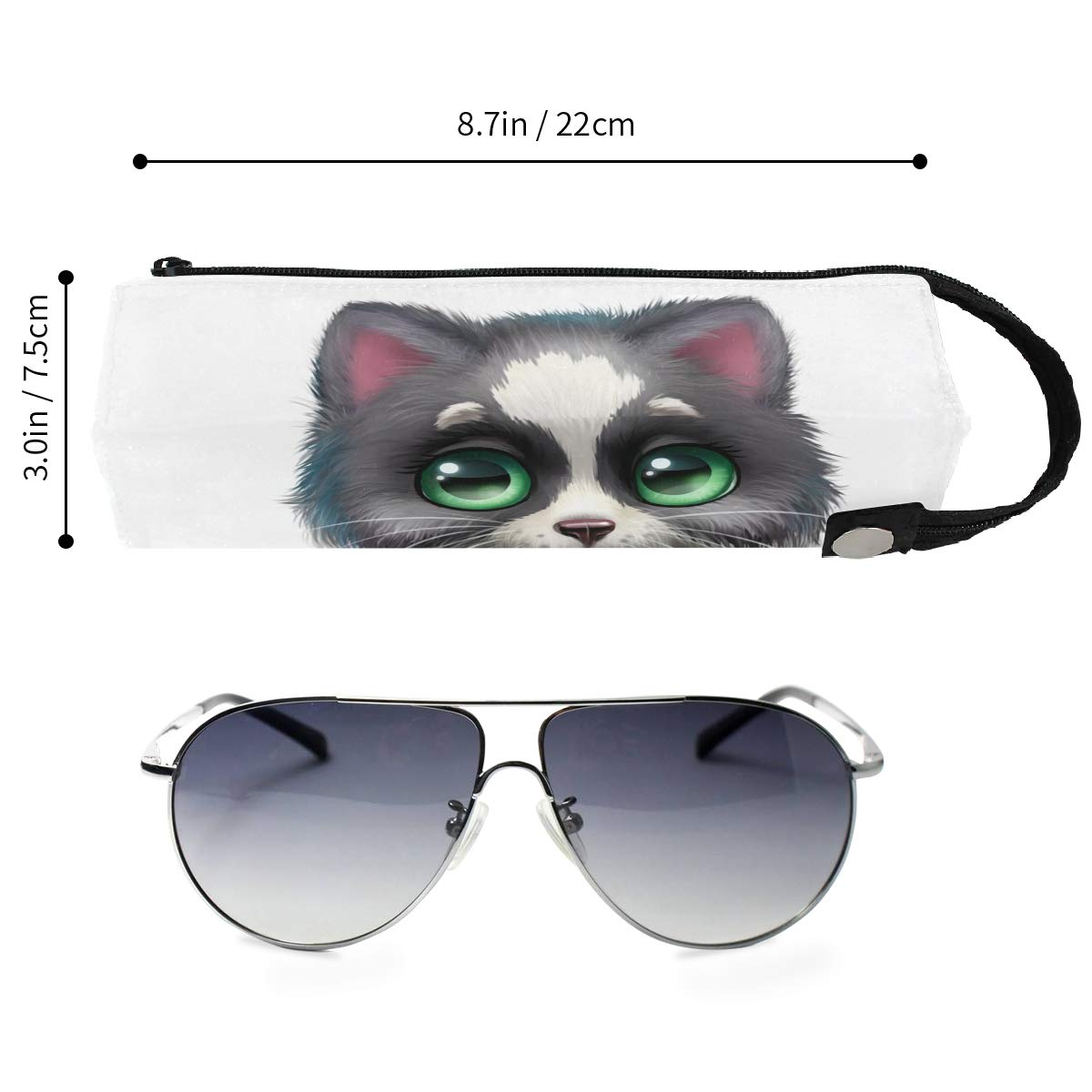 My Little Nest Eyeglass Sunglasses Holder Pouch Bag Cat Multi Function Zipper Pen Case Pencil Bag Organizer
