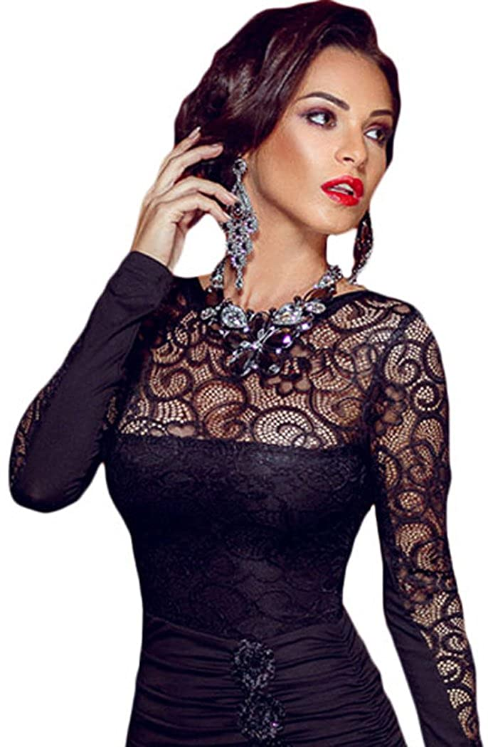 Bestime Womens Floral Applique Lace Ruched Bodycon Midi Dress One Size