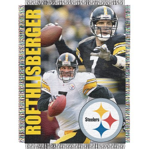 Northwest NFL 051 Player Pittsburgh Steelers Ben Roethlisberger Jacquard Woven Blanket (Ben Blanket Roethlisberger)