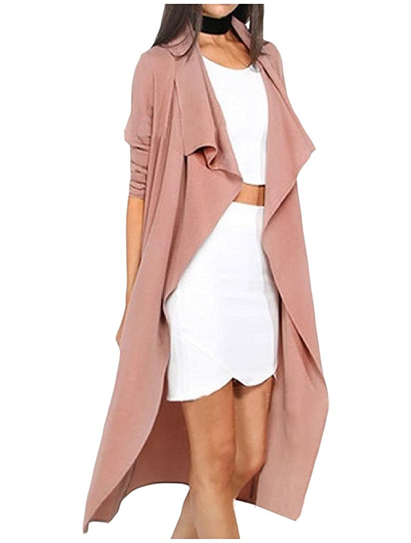 Doris Batchelor Fashion Womens Plus-size Belted Design Turn-down Collar Dust Coat