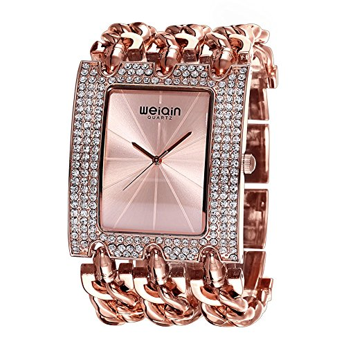 Fashion Square Bangle Watch - JIANGYUYAN Womens Unique Fashion Classic Casual Luxury watch Business Dress watches Luxury jewelry Bracelet bangle wristwatches Stainless Steel Rose Gold Glitz watches for ladies for big wrist