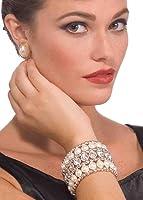 Vintage Hollywood Pearl And Rhinestone Costume Glamour Bracelet