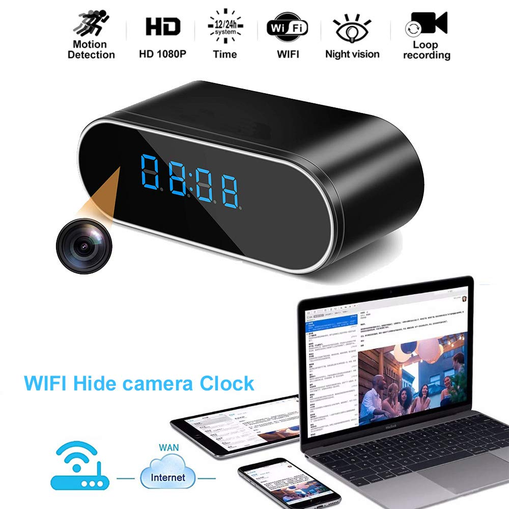 Luxnwatts Hidden Camera Clock WiFi Spy Camera Alarm Clock HD 1080P Surveillance Camera Home Security Monitor Nanny Cam with Night Version by Luxnwatts