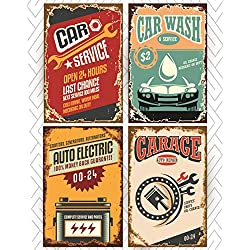 Retro Poster Prints Signs for Garage. Set Includes Four 11x17in Paper Funny Vintage Prints for an Auto Repair Service Shop or a Car Wash Garage. Great as Birthday Gifts for Men or College Posters