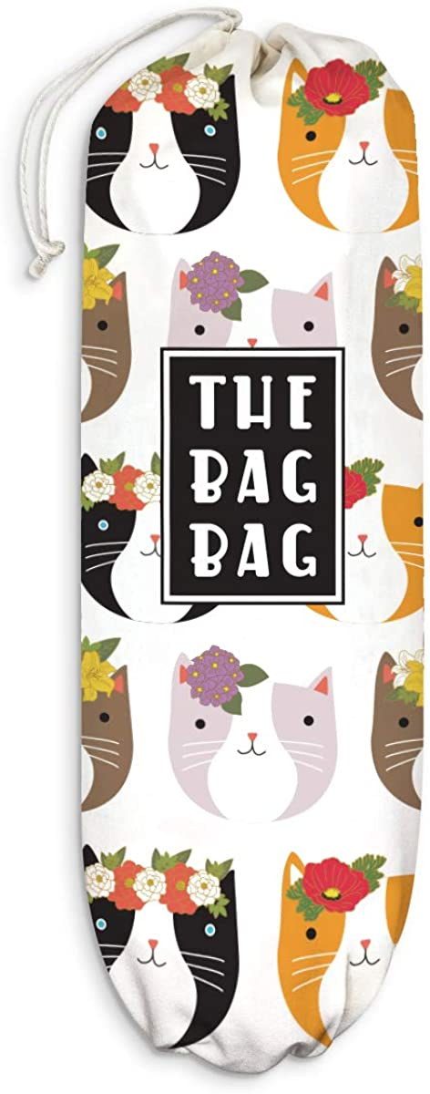 """Fancy Floral Cats Plastic Bag Holder Cats Pattern Grocery Shopping Bags Carrier Storage Organizer Dispenser Kitty Collective Home Kitchen Decor Gift for Housewarming Cat Lover Extra Large(23"""" x 9"""")"""