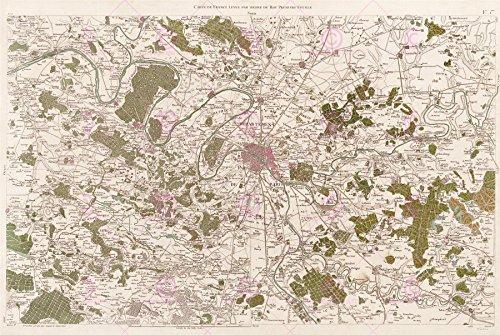 Doppelganger33 Ltd Map Antique Cassini France 18th Century Paris Large Replica Canvas Art Print