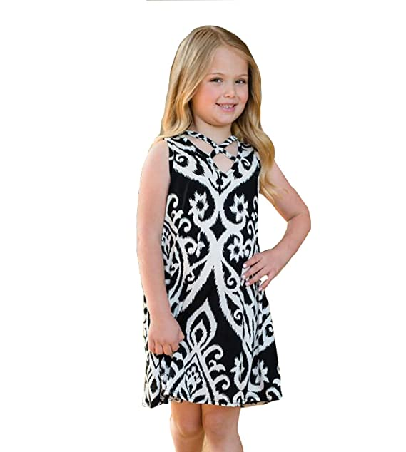 22499d240468 AUTAS Mommy and Me Deep-V Elastic Sleeveless Print Party Dress White and  Black Beach