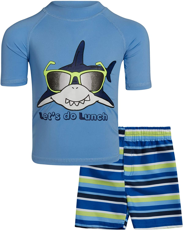 Infant//Toddler//Big Kid Sweet /& Soft Boys UPF 50 Boys Short Sleeve 2 Piece Rash Guard /& Trunk Swimsuit Set